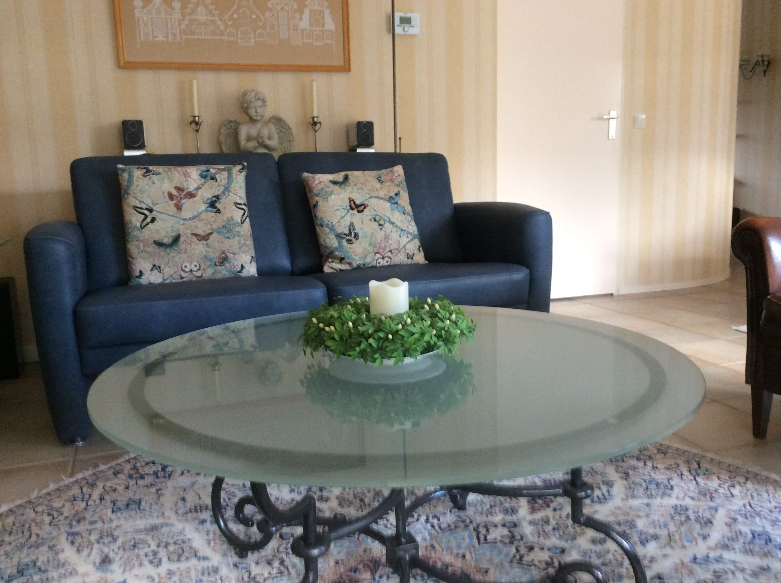 Salontafel satijnglas (mat glas) rond 10mm dik