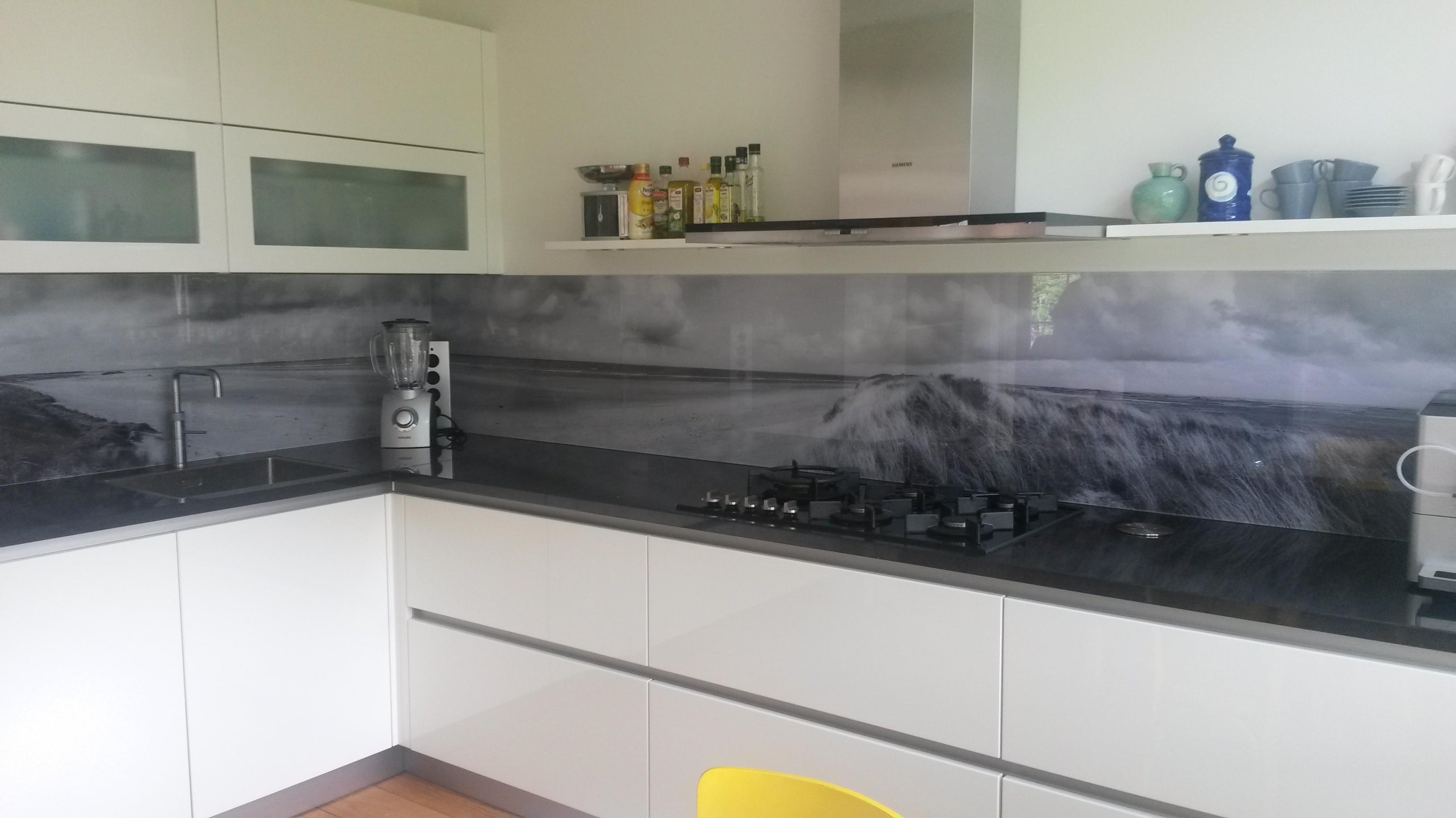 Glazen keuken achterwand met print - Credence keuken wit ...