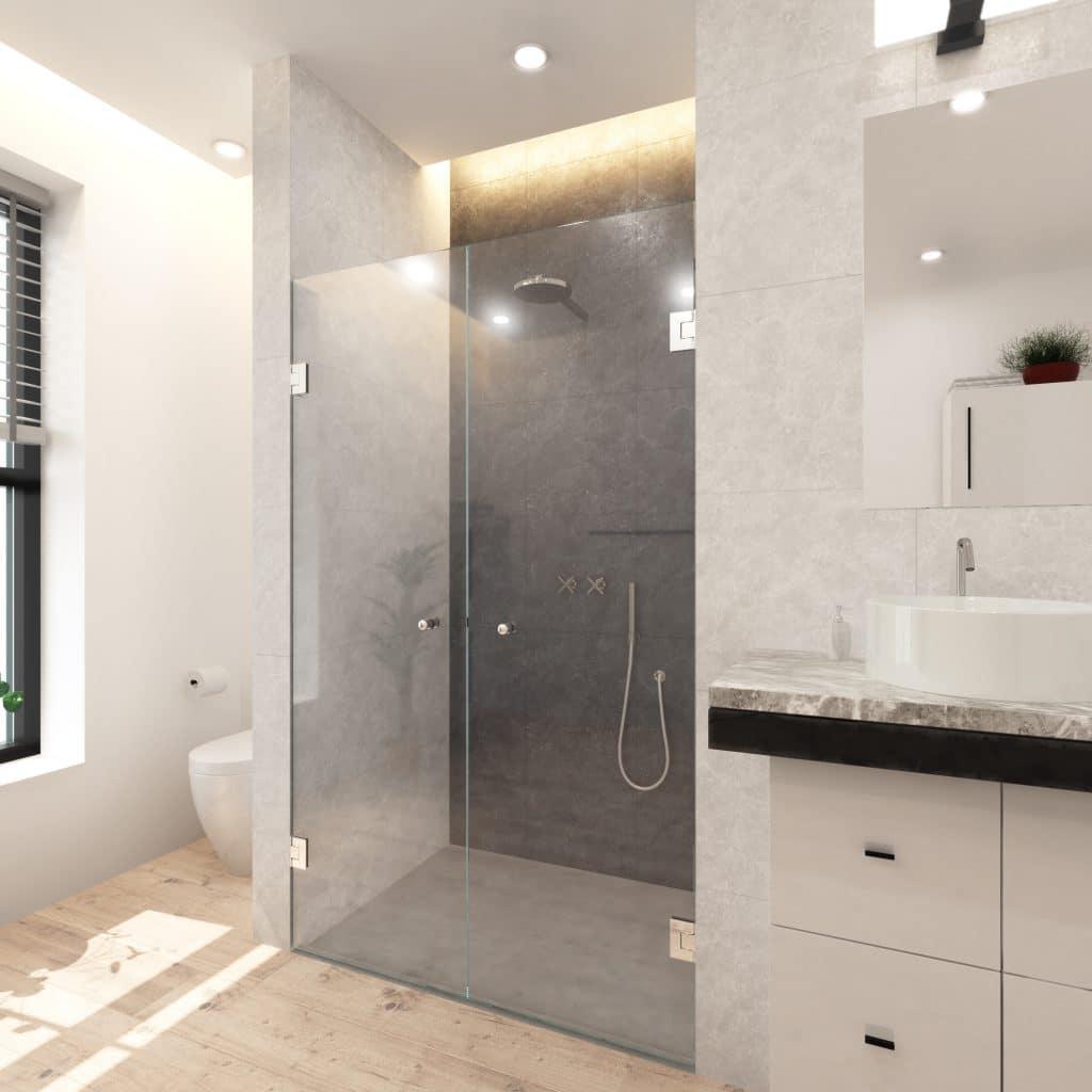 Dubbele douchedeur in een nis met scharnieren en knoppen