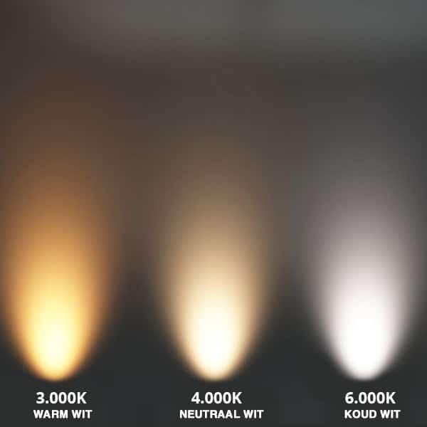 Verschillende lichtkleuren van warm wit tot koud wit