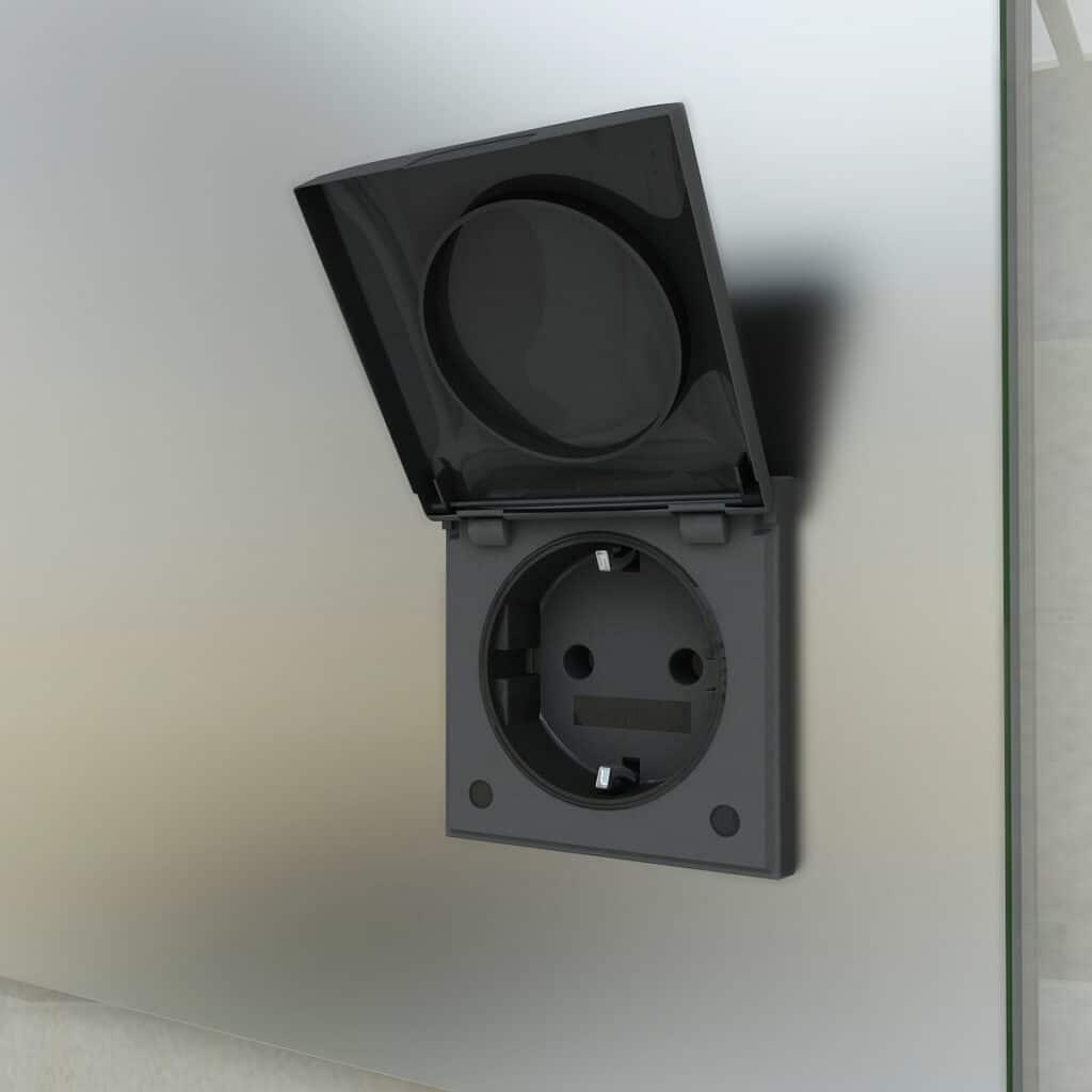 stekkerdoor mat zwart led spiegel